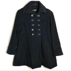Black Rivet Black Pea Coat Size X-Large